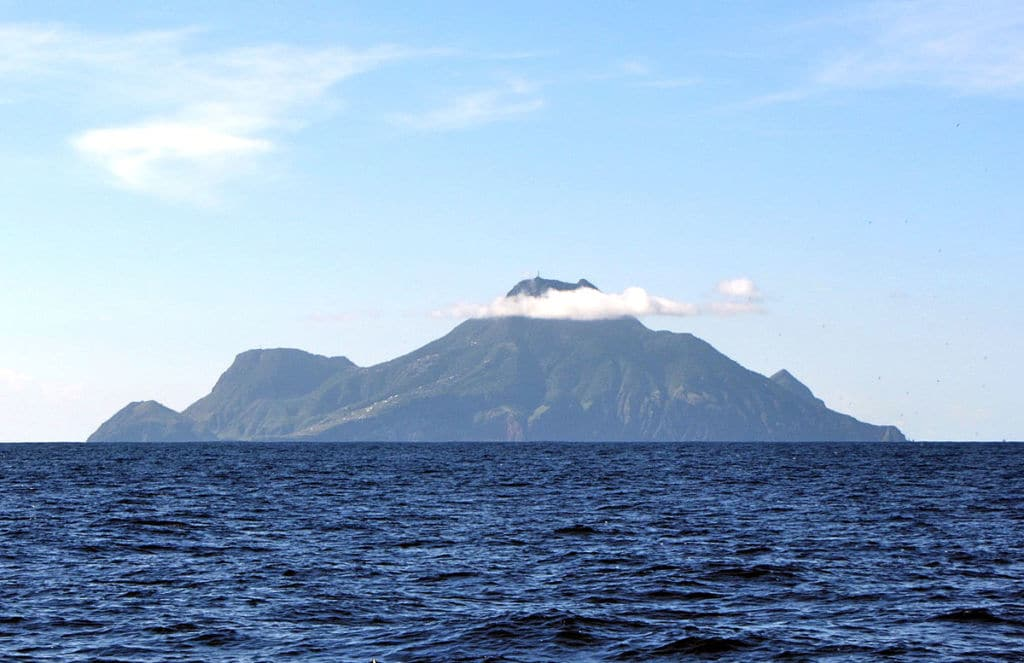 The island of Saba seen from a distance.