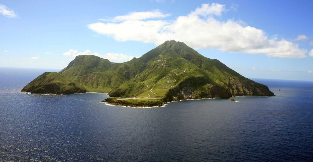 The beautiful island of Saba seen from a distance.