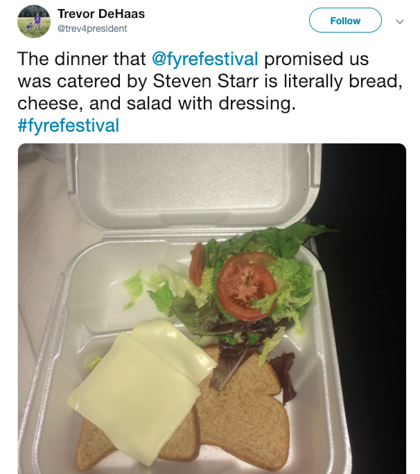 Fyre Festival cheese sandwich