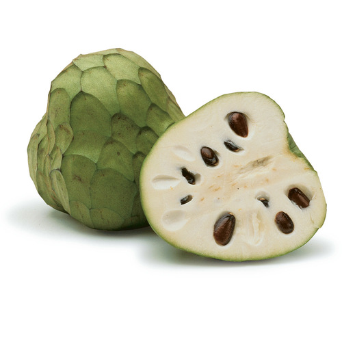 Cherimoya cut in half.