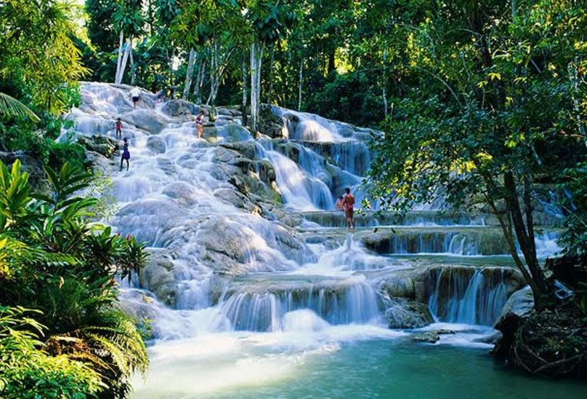 Dunns river falls in Jamaica.