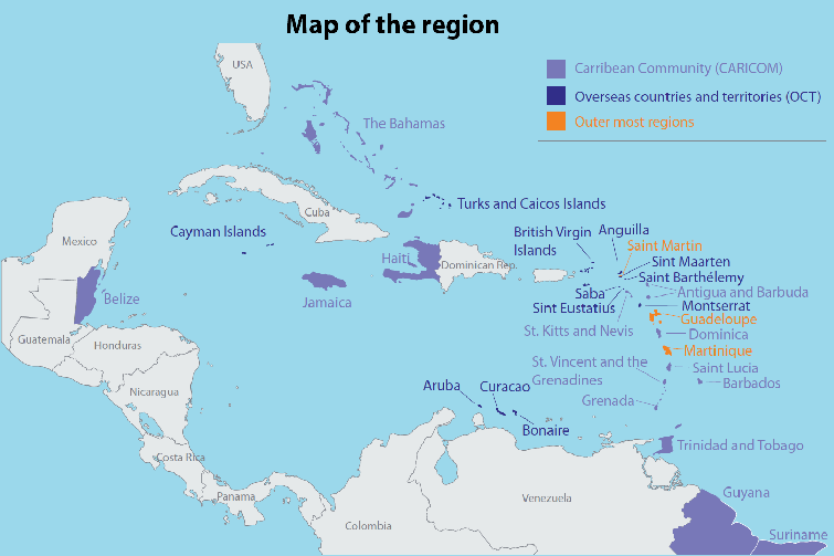 Map of the Caribbean region.