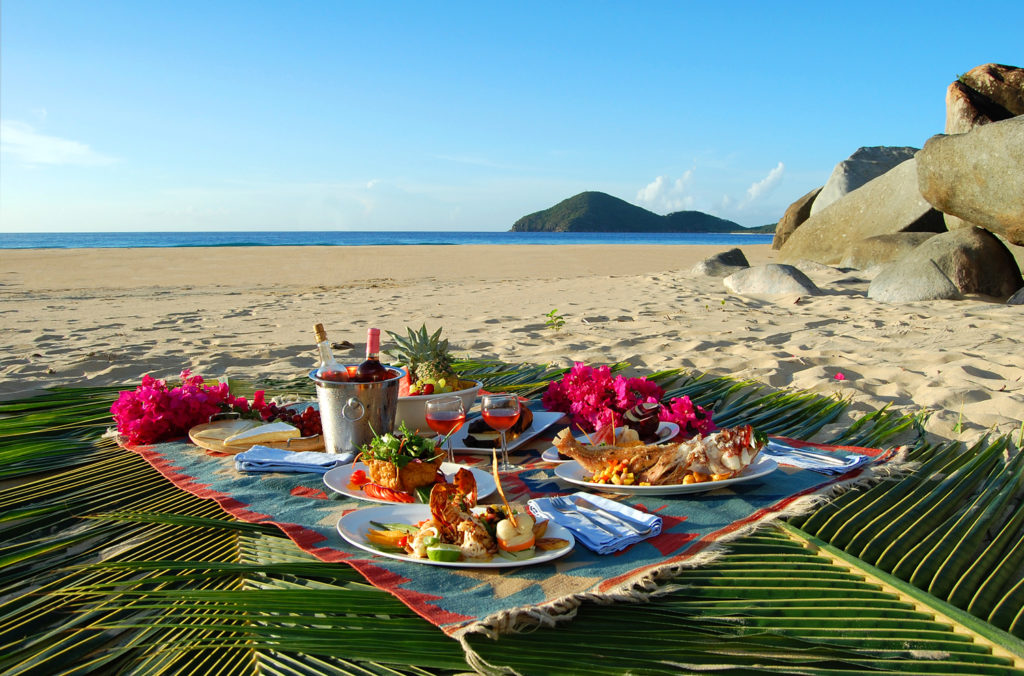 A Caribbean picnic on the beach.